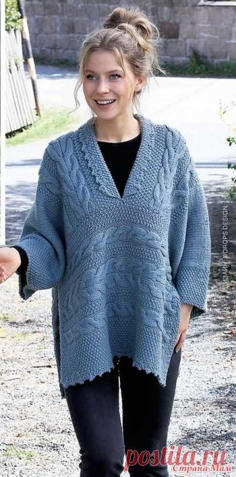 Пуловер-пончо с сочетанием рельефных узоров. Спицы. Вurdа. Вязание - №2 2021