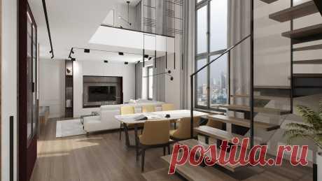 Минималистичный интерьер двухуровневой квартиры