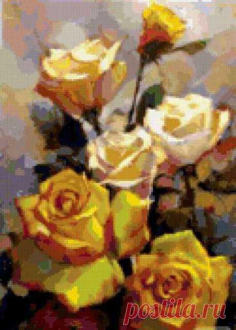 Предпросмотр - Схема вышивки «Желтые розы» - Автор «MITILYA» - Авторы - Вышивка крестом