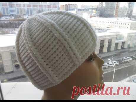 Теплая зимняя шапка ( вязание крючком для начинающих) Warm winter hat (Crocheting for beginners) #40
