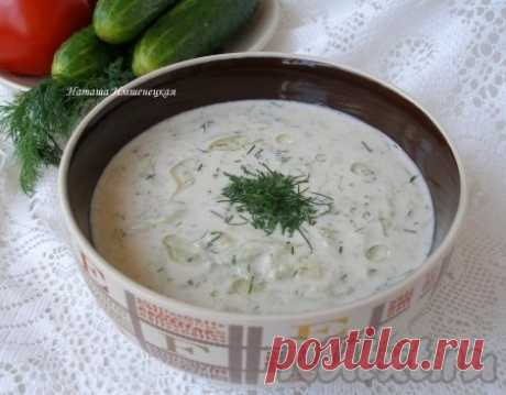 Cold soup on kefir with cucumbers