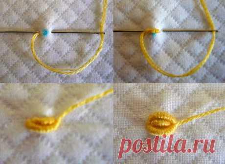 Вышивка розочек спиральным швом