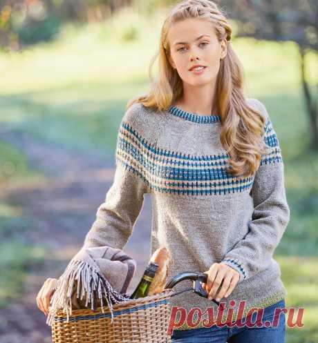 Джемпер цвета льна с жаккардовой кокеткой - схема вязания спицами. Вяжем Джемперы на Verena.ru