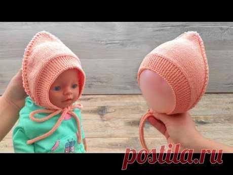Чепчик от завязки до завязки спицами 🐭 Baby hat Tie-to-Tie knitting pattern