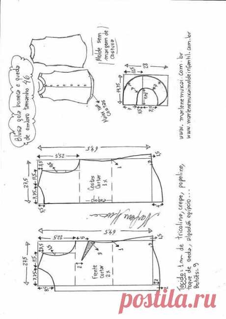 Выкройка летней блузы без рукавов (Шитье и крой) – Журнал Вдохновение Рукодельницы