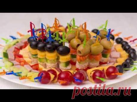 5 видов #Канапе на праздничный стол. Мини бутерброды на шпажках   ГОТОВИМ ДОМА с Оксаной Пашко - YouTube