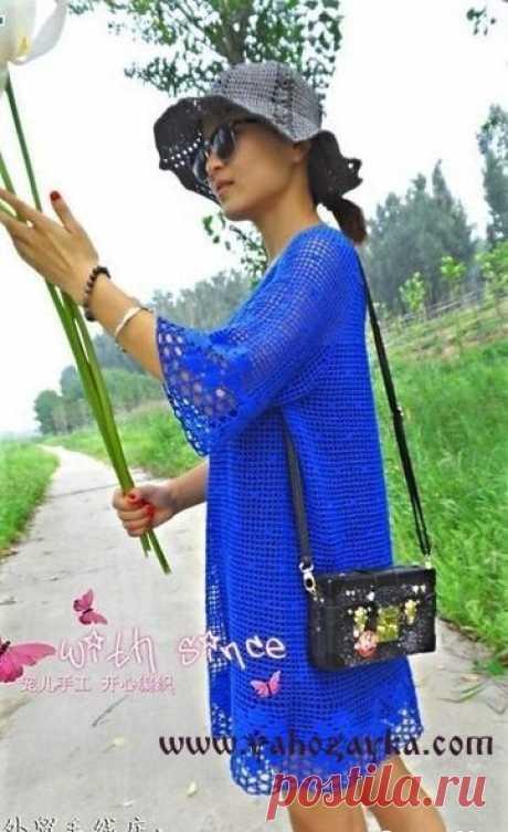 La túnica de filete крючком+СХЕМЫ. La túnica veraniega por la técnica de filete la túnica Azul por el gancho. La túnica veraniega por la técnica de filete