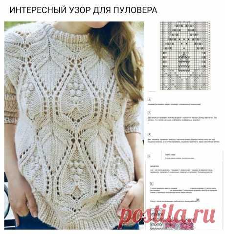 Мега подборка узоров спицами(часть 8)+ схема пуловера. | Волшебный клубочек! | Яндекс Дзен