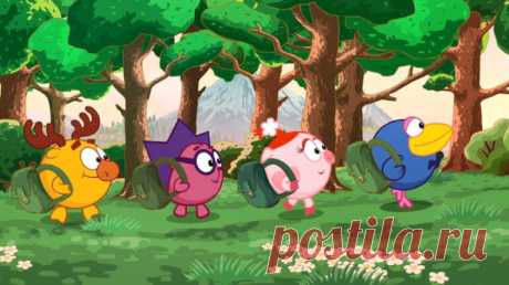 """Герои из мультфильма """"Смешарики"""" отправились в лесной поход. Иллюстрация изображает главных героев мультфильма, которые взяли с собой все необходимое для похода и отправились в путь."""