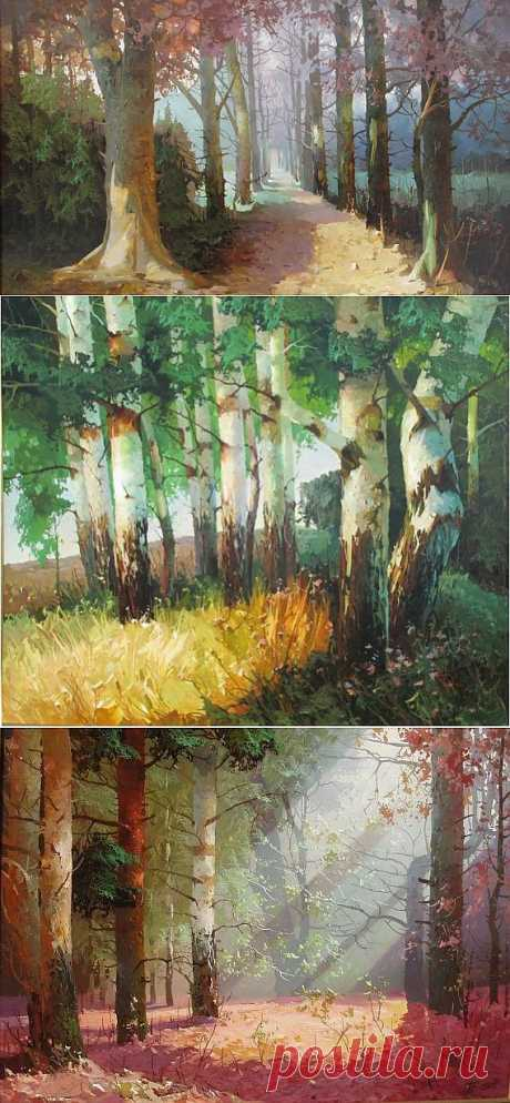 Лес маслом от Виктора Быкова.