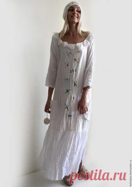 """Купить Платье из льна """" Прогулки по городу"""" - коричневый, однотонный, одежда для женщин, одежда"""
