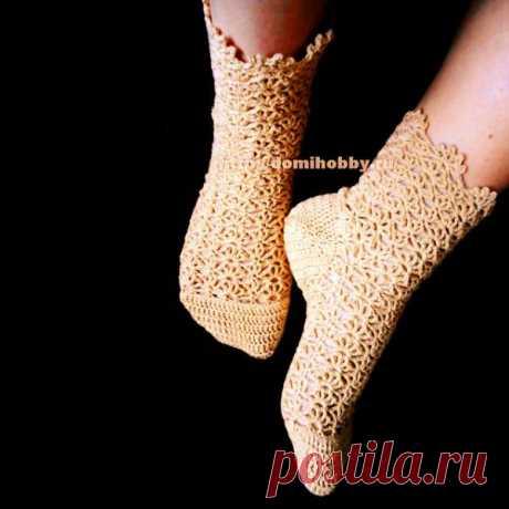 Ажурные носки крючком. Схемы и мастер-классы