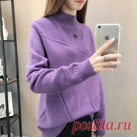 Женский свитер с высоким воротом, свободный трикотажный джемпер с рукавом реглан, LXJ9008, для зимы|Водолазки| Детские | роспись по ткани| готовые выкройки |