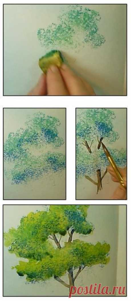 """(3) Artist Gay Kraeger's tips for making trees with a """"tree machine"""" (Sponge) from Strathmore's 2014 Online Workshops. See this free video lesson and m…"""