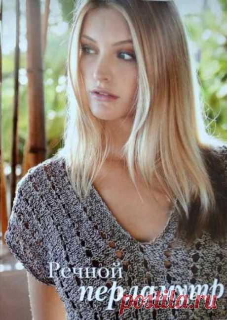 Серо-коричневый пуловер с короткими рукавами пуловер с короткими рукавами Летний пуловер с короткими рукавами смотрится эффектно благодаря фантазийному узору. Вязаный спицами пуловер для женщин с описанием и схемой вязания.Размеры: 36/38 (40/42)Вам потребуется: по 200 (250) г розово-коричневой (цв. 9) и цвета хлопка-сырца (цв. 41) пряжи Lana
