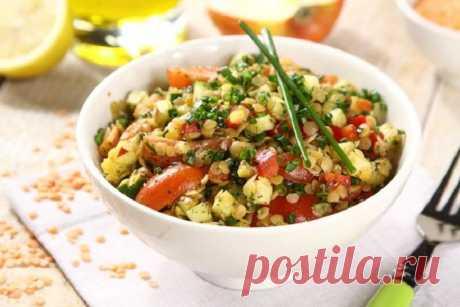 Салат из красной чечевицы с овощами – пошаговый рецепт с фото.