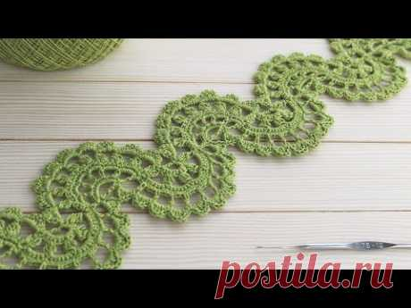 ЛЕНТОЧНОЕ КРУЖЕВО вязание крючком мастер-класс Crochet Ribbon Lace