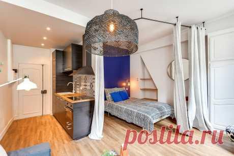 Квартиру-студию площадью 25 кв.м. можно обустроить удобно и со вкусом - как расположить кровать