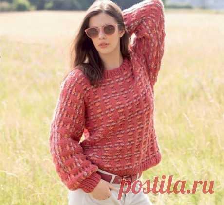 Пуловер с узором из снятых петель