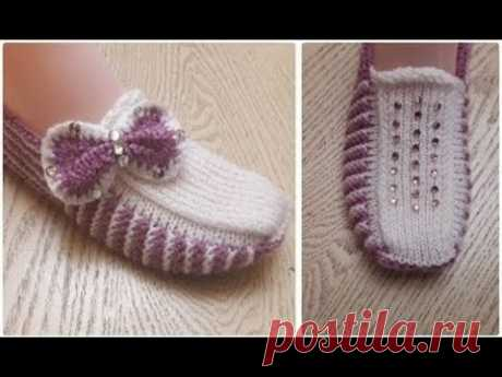 Классные тапочки следки на двух спицах  \ Knitting shoes