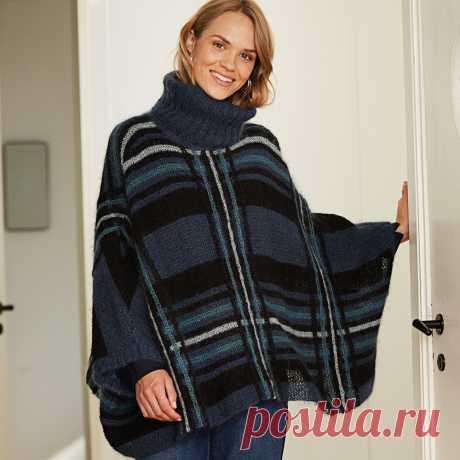 Свитер-пончо в клетку - схема вязания спицами с описанием на Verena.ru | Вязание стиль миссони,полоски,пэчворк | Постила