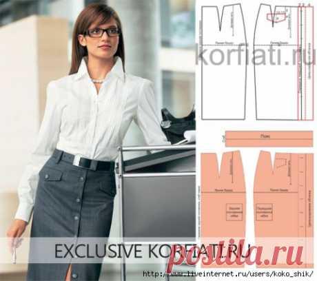 Шьем юбки на любой вкус - Прямая офисная юбка на застежке спереди