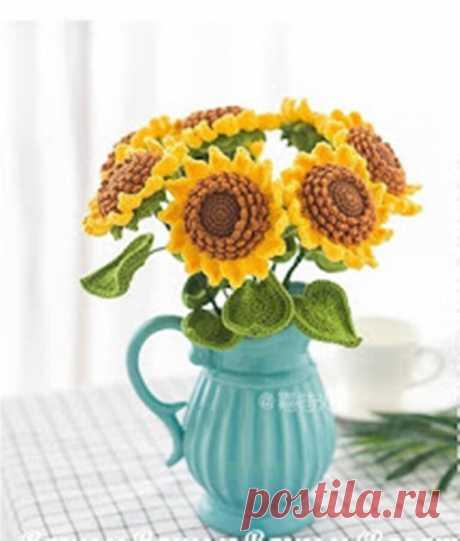 Вязаные цветы. Вяжем подсолнухи крючком.   NataliyaK   Яндекс Дзен