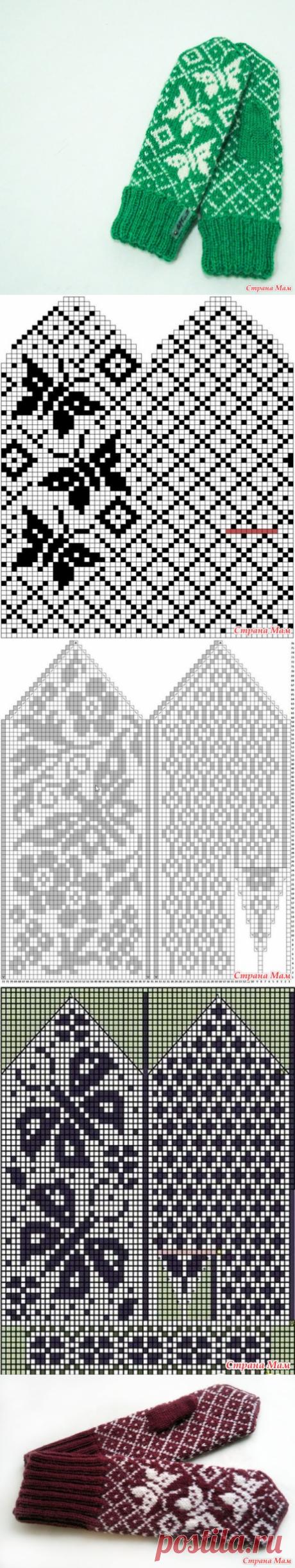Вязаные варежки с бабочками жаккардом (орнаментом), описание - Вязание - Страна Мам