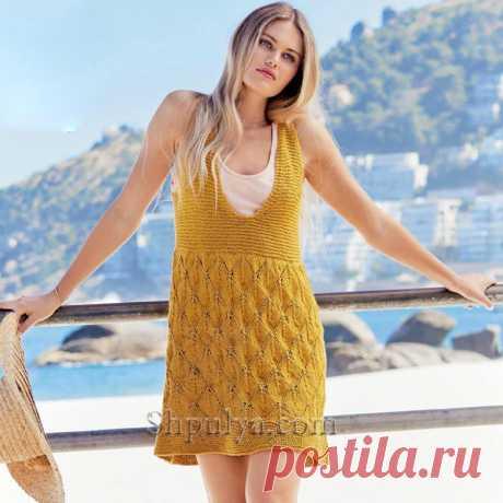 Летнее платье с ажурным узором из «Листьев» — Shpulya.com - схемы с описанием для вязания спицами и крючком