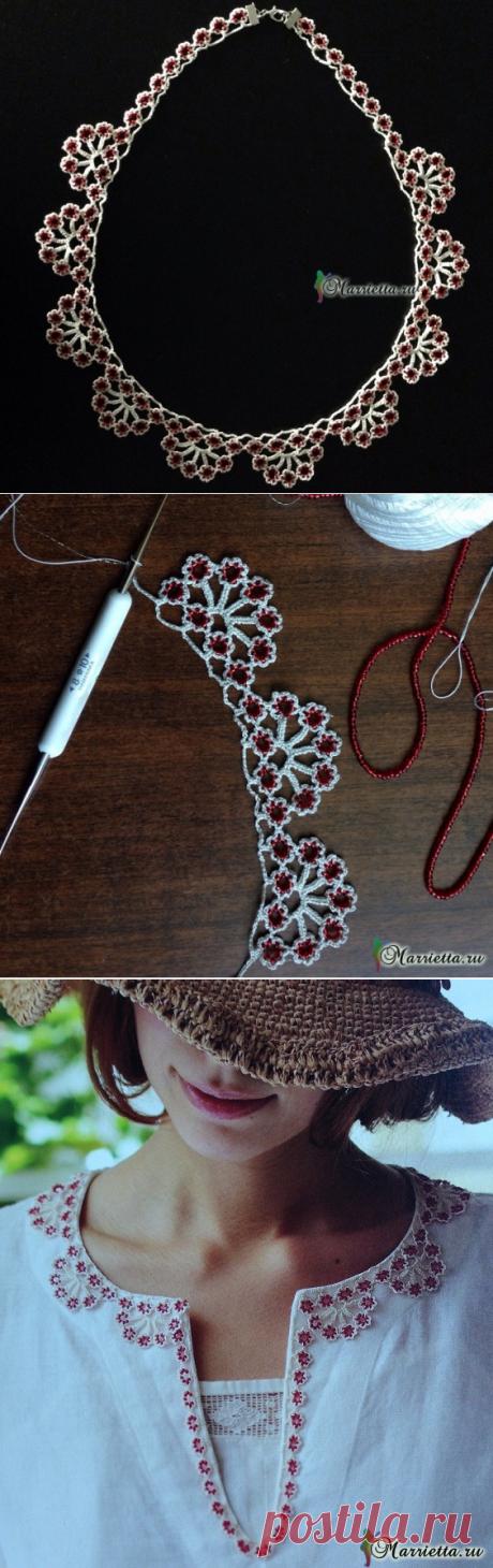 Обвязка края горловины - красивое ожерелье связано крючком