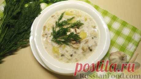 Рецепт: Куриный суп с грибами и плавленым сыром на RussianFood.com