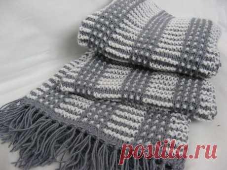 Элегантный мужской шарф (Вязание спицами) Ура, я это сделала !!)) Не люблю вязать шарфы – нудновато . Попросили связать двухцветный и длинный и вот что у меня получилось . Нитки Alize baby wool (40% шерсть 40% акрил 20% бамбук) 50г-1…