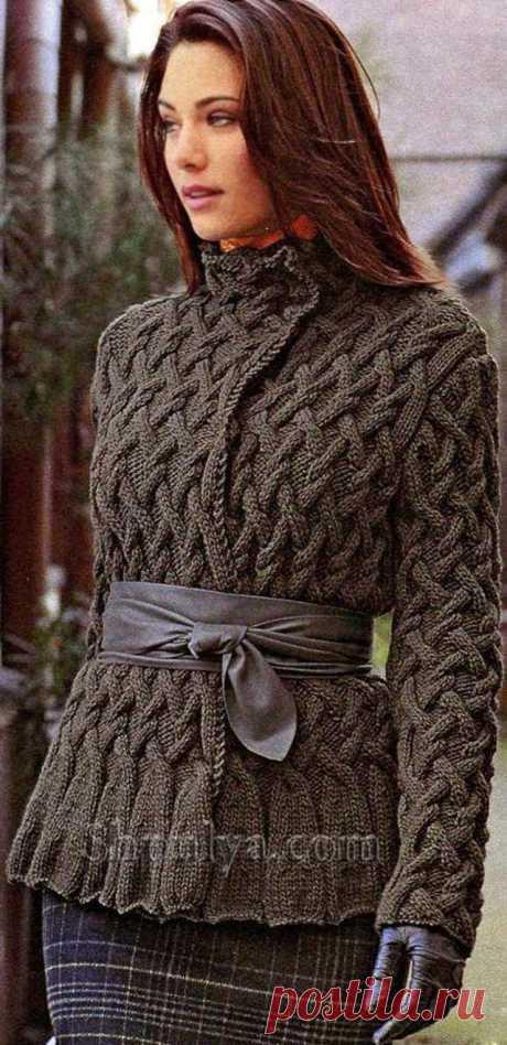 www.SHPULYA.com - Кофта с узором из кос, вязаная спицами