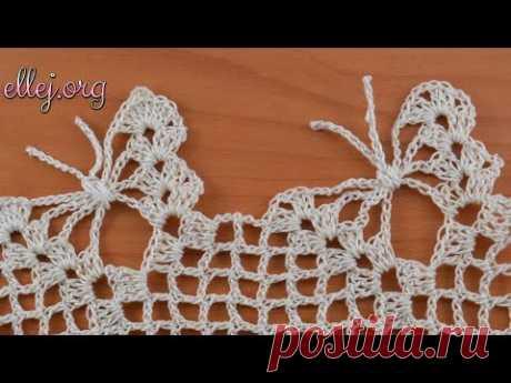 Кайма с бабочками крючком. Обвязка края. Crochet butterfly edging. Crochet by Ellej