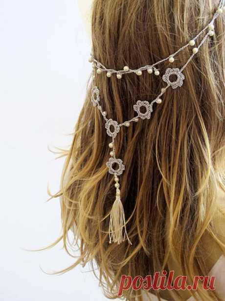 Crochet Headband or necklace hairband from fancy.com   My