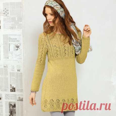 El mini-vestido con la combinación de las cintas - el esquema de la labor de punto por los rayos. Tejemos los Vestidos en Verena.ru