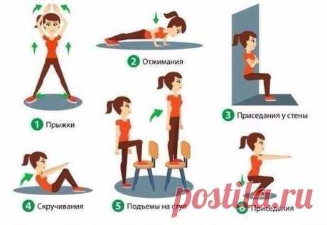 Жиросжигающий 15-минутный комплекс упражнений для домашней тренировки. Каждое упражение выполняйте по 15 раз, отдых между упраж / Surfingbird знает всё, что ты любишь