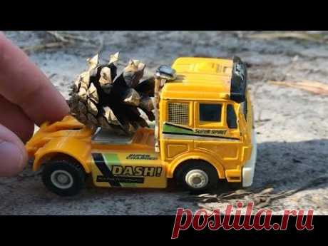 Toy Truck Video for CHILDREN. Racing toy truck run in forest - YouTube