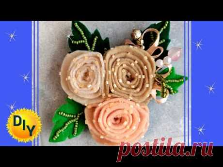 Брошь из фетра цветок. Подарок на розыгрыш. DIY/рукоделие. #брошь