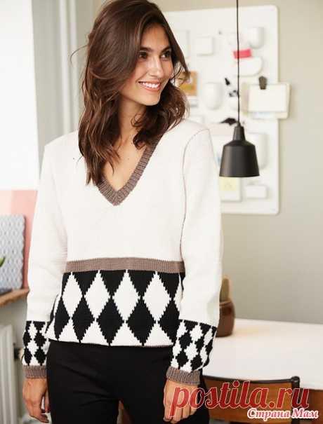 Пуловер с узором «Арлекин» - Вязание - Страна Мам