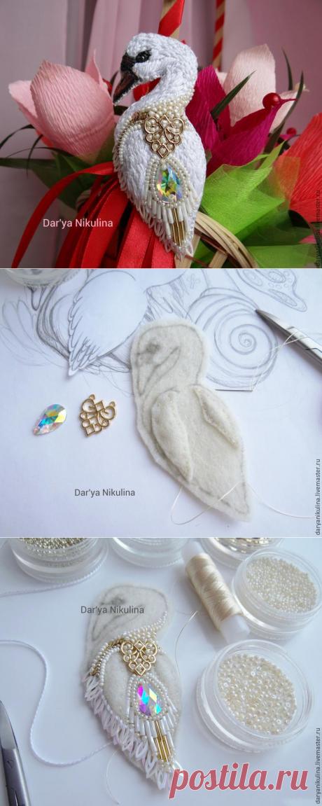 """Шикарная брошь """"Лебедь"""" — Сделай сам, идеи для творчества - DIY Ideas"""