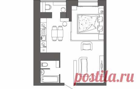 Двухкомнатная квартира 42 кв. м. в бежевых тонах