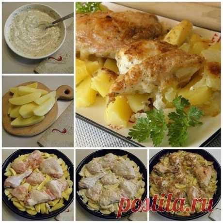 Картошка с курицей в духовке под соусом.  Ингредиенты: -Курица — 0,5 Штуки ᅠ -Картофель — 600 Грамм ᅠ -Лук — 1 Штука ᅠ -Чеснок — 1-2 Зубчиков ᅠ -Майонез — 100 Грамм ᅠ -Сметана — 100 Грамм ᅠ -Соль — По вкусу ᅠ -Специи — По вкусу ᅠ -Вода — 1 Стакан ᅠ . Приготовление Шаг 1. Тушку курицы, или в моем случае половинка, вымойте, удалите остатки перьев и грубую кожицу на ножках. Отрежьте попку, уберите внутренний жир. ᅠ Шаг 2. Порубите топориком тушку на кусочки небольшого размера...