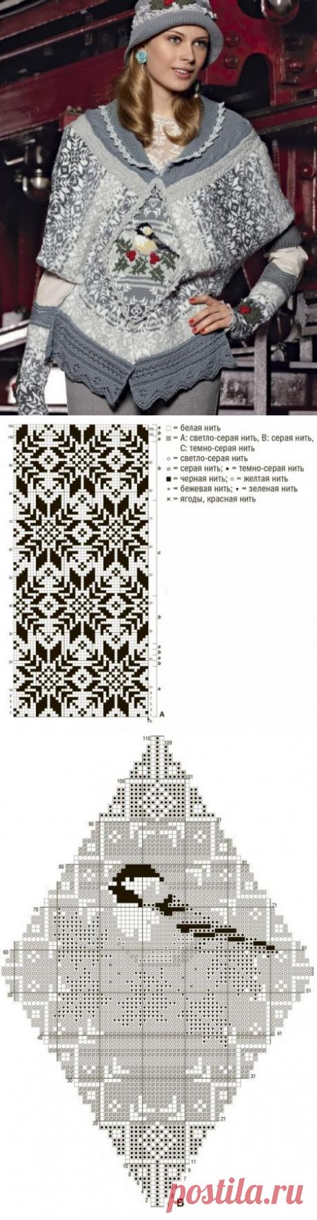 Шарф-пончо с жаккардовым узором из категории Интересные идеи – Вязаные идеи, идеи для вязания