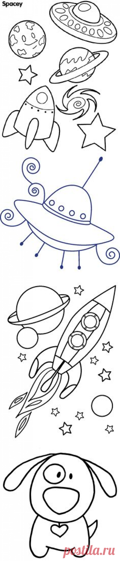 (161) Digital Stamp - Space Rocket Spaceship - Printable Line Art for Card & Craft Supply. Digital image. Clipart Commercial Use