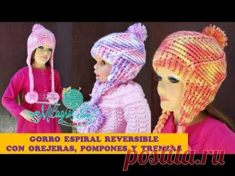 ZURDOS Gorro Espiral tejido a crochet con orejeras trenzas y pompones paso a paso