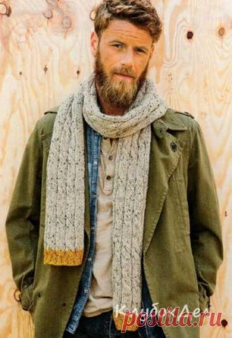 Вязание для мужчин спицами - мужской шарф, схема с описанием вязания