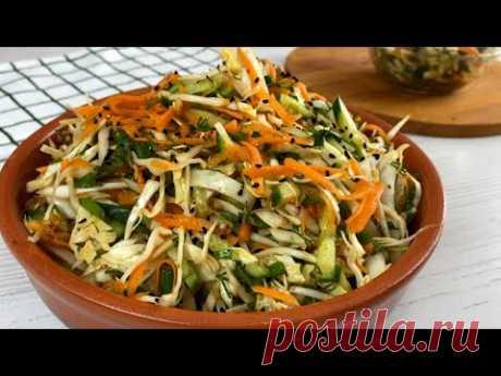 Готовлю целый таз САЛАТА,потому что съедается салат моментально! Вкусный Салат из Обычной Капусты