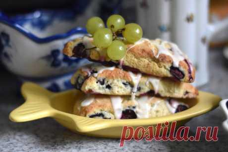 Сконы с голубикой и лимонной глазурью - Cooking Palette