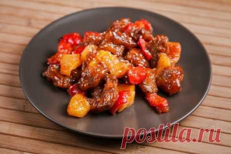 Свинина в кисло-сладком соусе по-китайски с ананасами   Кулинарные записки обо всем   Яндекс Дзен